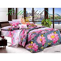 Полуторное постельное белье цветы на синем