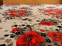 Махровая простынь полуторного размера - красные цветы