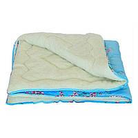 Одеяло полуторное из овечьей шерсти Лери Макс голубой окрас