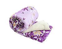 Одеяло полуторное из овечьей шерсти Лери Макс сиреневого цвета