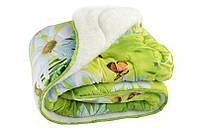 Одеяло полуторное из овечьей шерсти Лери Макс салатовое