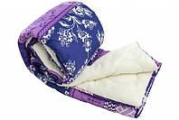 Одеяло двуспальное из овечьей шерсти Лери Макс синее