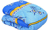 Ковдра двоспального розміру з овечої вовни синє