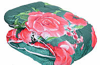 Ковдра двоспального розміру з овечої вовни - троянди на зеленому
