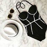 Женский стильный корсетный черно-белый купальник, фото 2