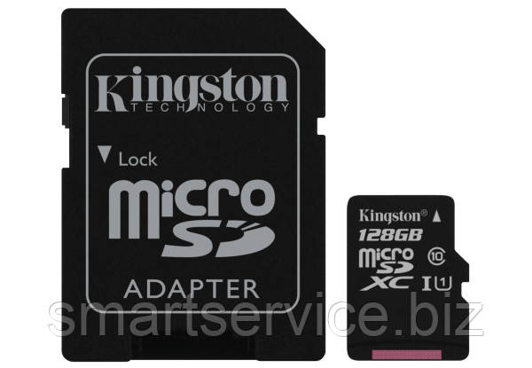 Kingston 128GB microSDXC UHS-I Canvas Select 80R class 10+SD Adapter (SDCS/128GB)