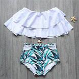 """Женский стильный раздельный белый купальник с рюшами""""Листья"""", фото 3"""