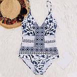 Женский стильный слитный сине-белый купальник со вставкой сетки, фото 3