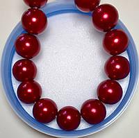 Жемчуг стеклянный красный 12мм