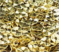 Бусина металлическая золотистая плоская 7мм