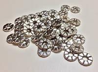 Бусина металлическая плоская Античное серебро 8мм