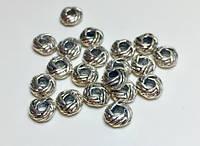 Бусина металлическая Пончик серебро 7х4
