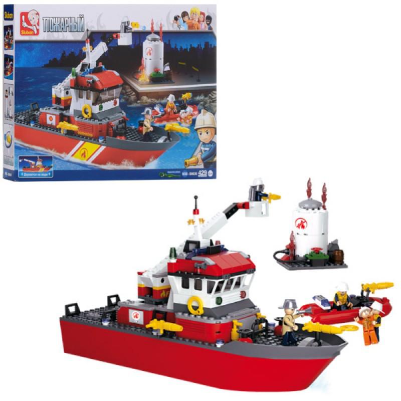 Конструктор Пожарный на 429 деталей - пожарные спасатели, пожарный катер, Sluban M38-B0630