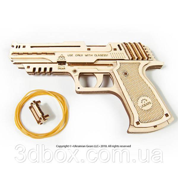 Механический конструктор из дерева «Пистолет «Вольф-01» (UGEARS) | 3D-пазл, фото 1