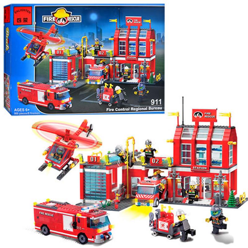 Конструктор Пожарный - большая пожарная часть, пожарные спасатели, пожарный транспорт, Brick 911
