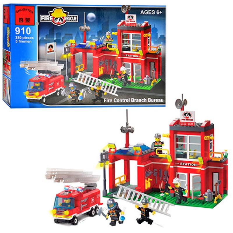 Конструктор Пожарный на 380 деталей - пожарная часть, пожарные спасатели, пожарный транспорт, Brick 910