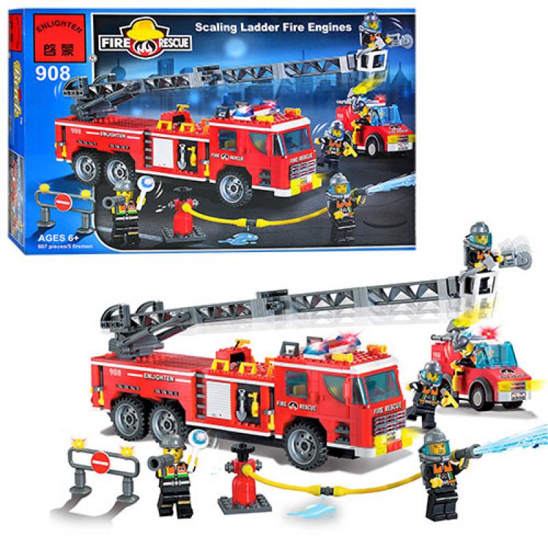 Конструктор Пожарный на 607 деталей - пожарные спасатели, пожарная машина, фигурки,  Brick 908