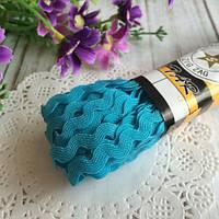 Тесьма зиг-заг, цвет бирюзовый