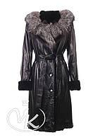 Женская черная дубленка с мехом чернобурки