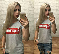 Новинка! женская модная футболка Турция серый меланж S M L