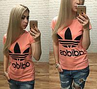 Новинка лета женская футболка катон Турция персик S M L, фото 1