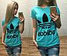 Новинка лета женская футболка катон Турция голубая S M L