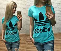 Новинка лета женская футболка катон Турция голубая S M L, фото 1