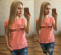 Новинка! женская футболка катон Турция в расцветках персик S M L, фото 1