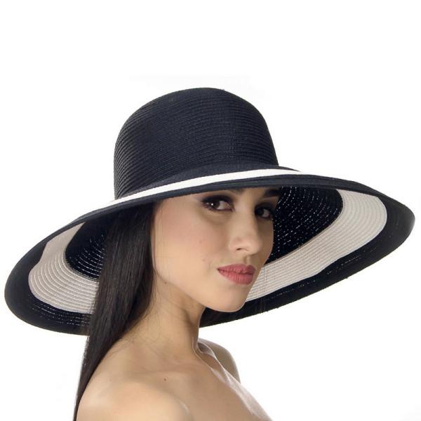 Шляпа летняя широкое поле цвет черный с белым