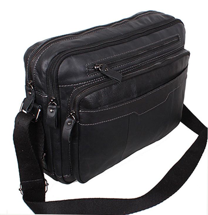 Кожаная мужская сумка PRE1863 черная через плечо для документов А4 ноутбука  натуральная кожа 36х25см 5d8933f1a7f