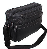 Кожаная мужская сумка через плечо деловая для документов А4 ноутбука 36х25х11см