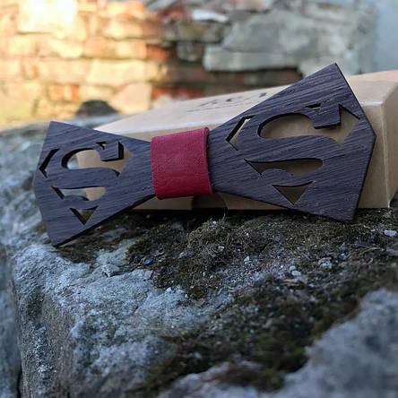 Галстук-бабочка I&M Craft из дерева с логотипом Superman (011212), фото 2