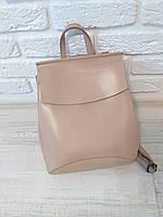 """Женский кожаный рюкзак-сумка(трансформер) """"Анжелика Beige"""""""