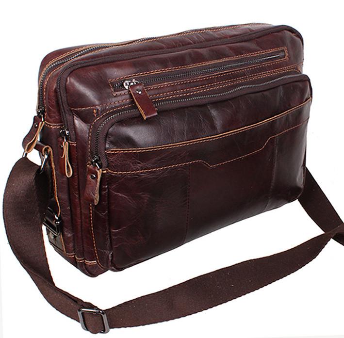 6ec4465bb07b Кожаная мужская сумка через плечо PRE1863 коричневая для документов А4  ноутбука 36х25см - Интернет-магазин