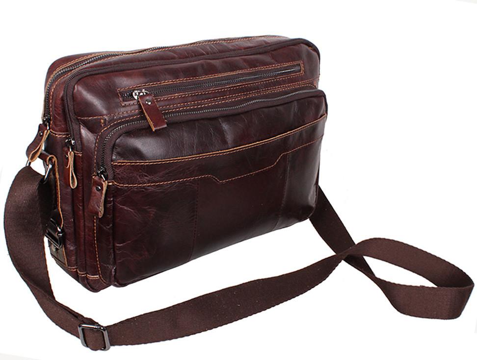 2a9de8a6eb1c ... Кожаная мужская сумка через плечо PRE1863 коричневая для документов А4  ноутбука 36х25см, ...