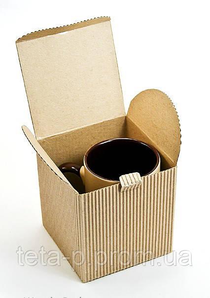 Коробка для чашки бурая, из рельефного гофрокартона