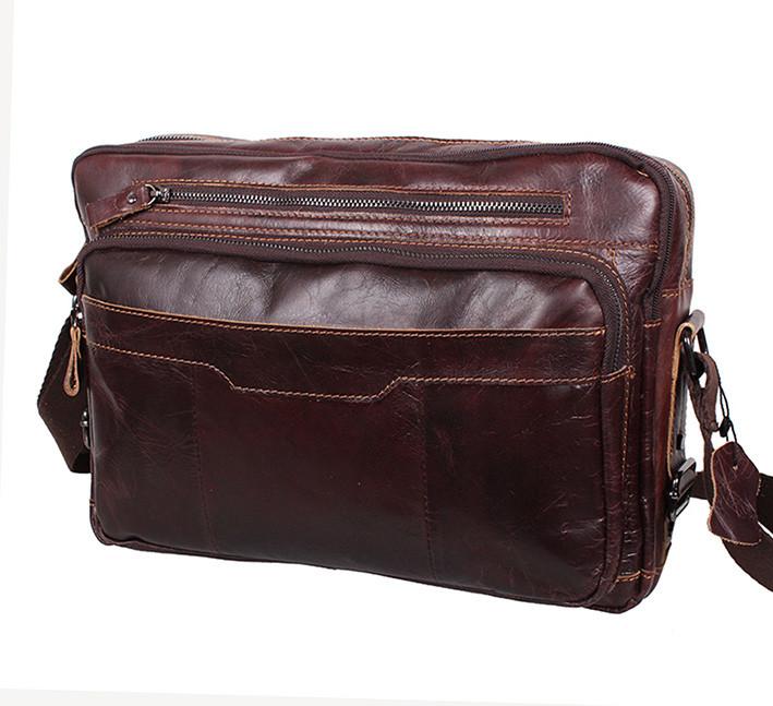 3fe5bdeaab65 Кожаная мужская сумка через плечо PRE1863 коричневая для документов А4  ноутбука 36х25см, ...