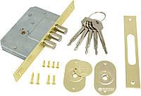 Механизм дверей врезной KALE 189 3MF 5 ключей 3 ригеля Латунь, фото 1