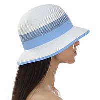 Женская шляпа небольшие поля цвет белый с голубым и с коралловым