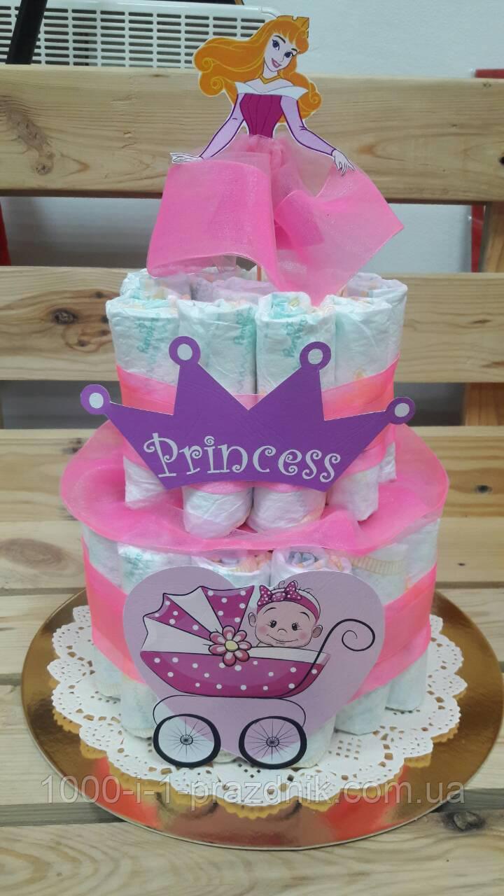 Торт из памперсов для девочки!
