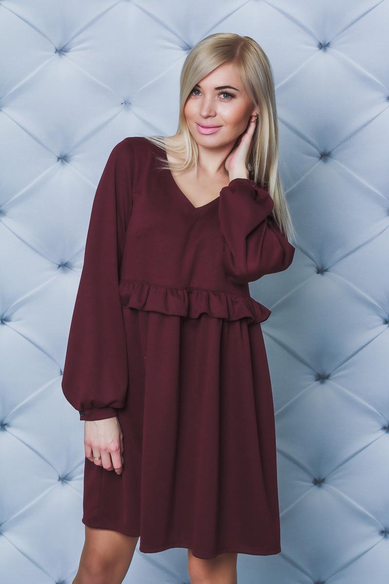 Женское свободное платье бордо