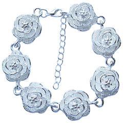 Браслет Розы под Платину, Длина 19 + 5 см.