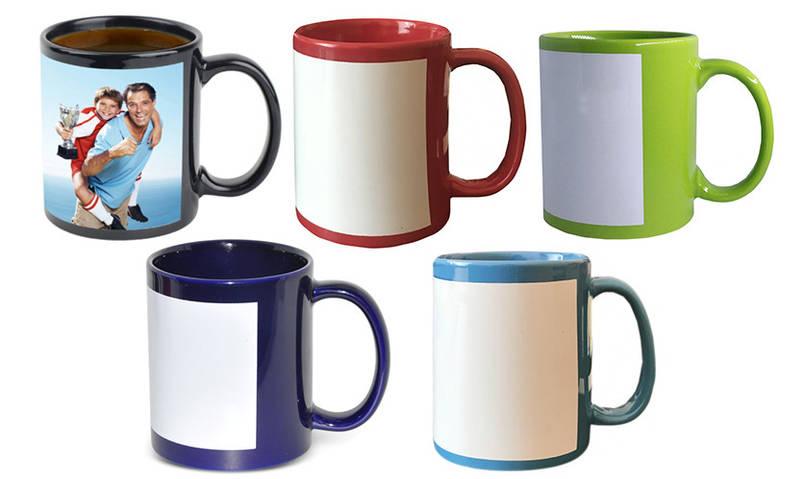 Чашка с Вашим дизайном цветная з белым полем для печати