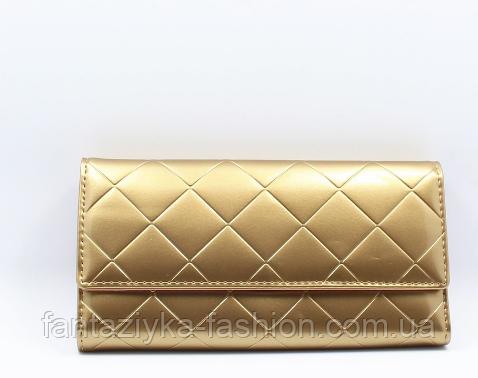Женский кошелек лаковый золотой