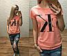 Новинка лета женская футболка катон Турция  в расцветках персик S M L