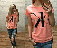 Новинка лета женская футболка катон Турция  в расцветках персик S M L, фото 1
