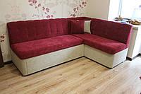 Бордовый кухонный уголок со спальным местом