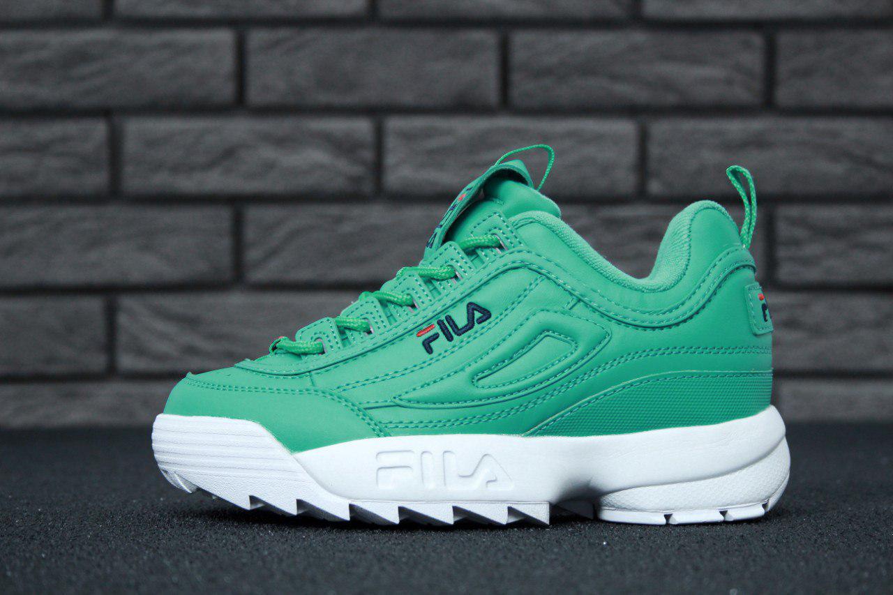 2c418ede07c2 Кожаные кроссовки фила зеленые, женские кроссовки Fila (реплика ...