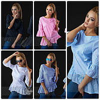 Блуза хлопковая с баской от производителя. р. S-M