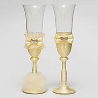Оригинальные свадебные бокалы в тонах айвори